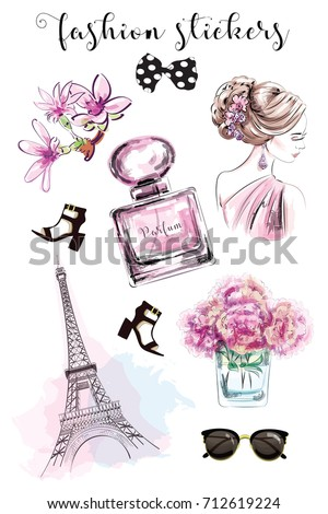 Cute hand drawn set with fashion stickers: beautiful woman, perfume bottle, flowers, shoes, eiffel tower and sunglasses. Stylish stickers collection. Sketch.