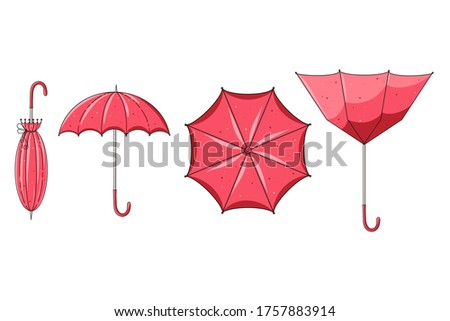 Cute hand drawn vector collection of opened, closed and upturned umbrellas isolated on white background. Graphic elements for package, wrapping paper, print, card, fabric, label, advertising, textile.