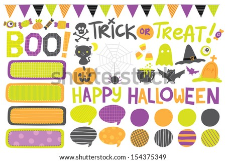Cute hand drawn vector Halloween labels, icons, elements