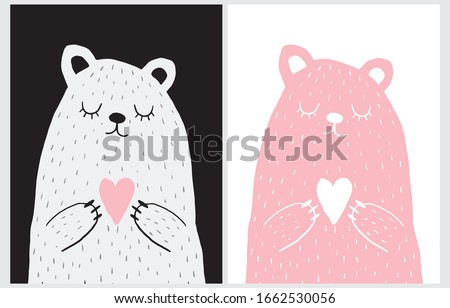 Cute Hand Drawn Vector Illustration with Bear Holding Heart. Sweet Nursery Art for Card, Invitation, Father's or Mother's Day. Big White Polar Bear on a Black Background. Pink Teddy Bear on a White. Foto stock ©
