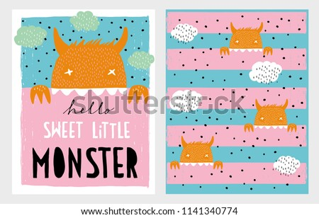 Cute Hand Drawn Vector Monster Illustration Set.Hand Written White and Black Text.Hello Sweet Little Monster.Mint Green Clouds on Blue and Pink Backround.Orange Monsters on a Blue Stripped Background.