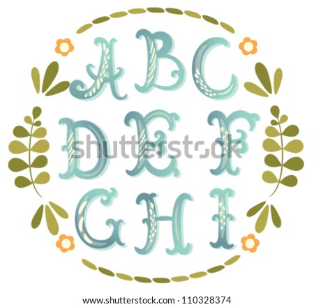 Cute hand drawn watercolor-like font. Vector letters set A-I