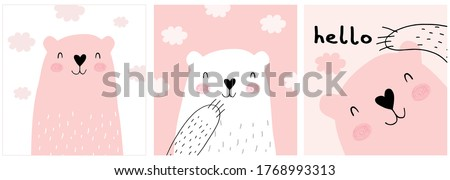 Cute Hand Drawn White and Brown Teddy Bear Vector Illustration Set. Lovely Nursery Art with Funny Bunny Dreamy Baby Bear. Fluffy Clouds on a Light Pink and White Background. Kids Room Decoration.