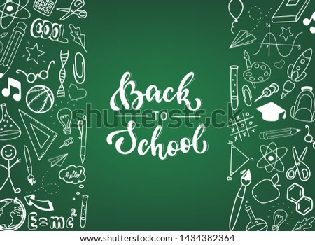 Back to school poster with text on chalkboard - Download Free Vector