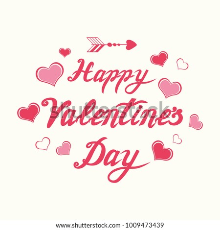 Cute handwritten romantic Happy Valentines Day calligraphy banner decorated floral pink hearts. Vector hand drawn vintage lettering element for 14 February design. Card, print, label sticker logo icon #1009473439