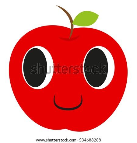 cute  happy apple  icon  vector