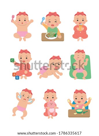 Cute happy baby and her daily set of cute cartoon babies and baby illustrations, baby diapers, crawling babies, eating baby noodles
