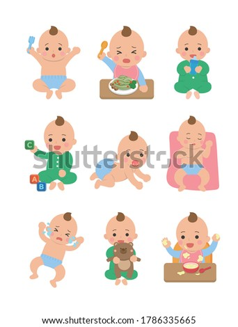 Cute happy baby and his daily set of cute cartoon babies and baby illustrations, baby diapers, crawling babies, eating baby noodles