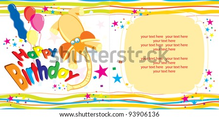 Free happy birthday vector background with cute elephant download cute happy birthday card bookmarktalkfo Images