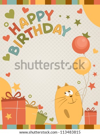 cute happy birthday card a cat