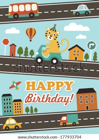 cute happy birthday card design