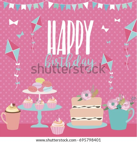 Cute Happy Birthday card template for greeting or invitation. Vector illustration