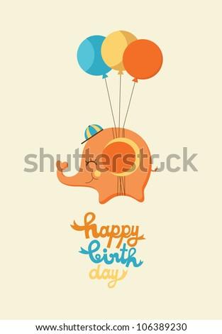 cute happy birthday card with elephant. vector illustration