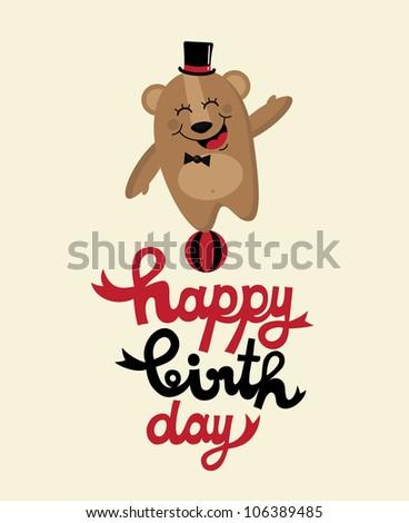 cute happy birthday card with fun bear. vector illustration