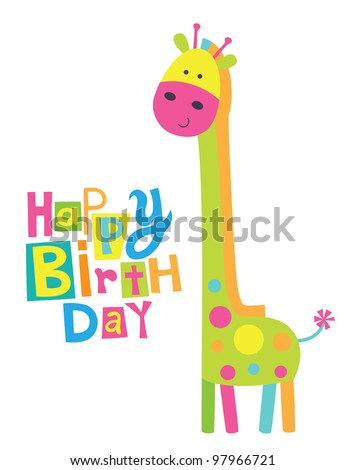 cute happy birthday card with fun giraffe. vector illustration