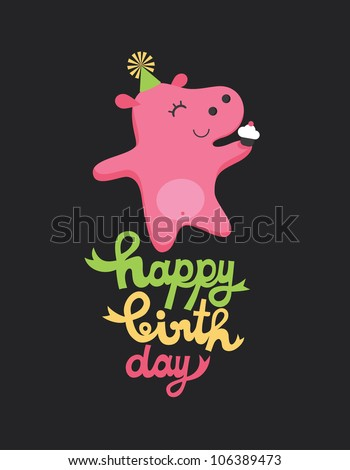 cute happy birthday card with fun hippo. vector illustration