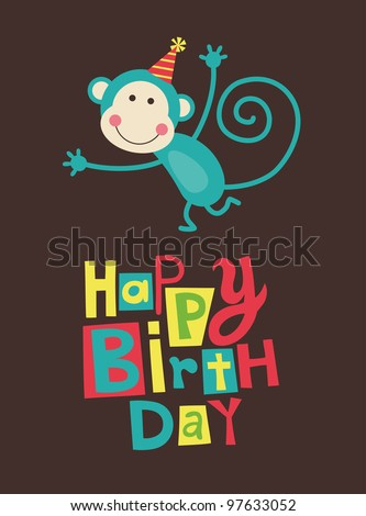 ... birthday card with fun monkey. vector illustration - stock vector