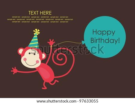... birthday card with fun monkey. vector illustration - stock vector