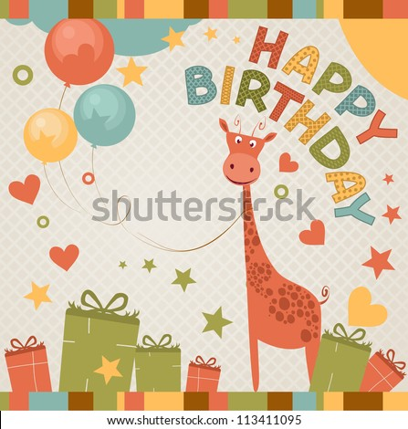 cute happy birthday card with giraffe.