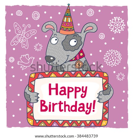 Cute Happy Birthday Greeting Card Template With A Cartoon Dog Ez