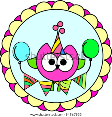 ... vector : cute happy birthday part invitation label