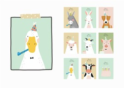 Cute Happy Birthday poster with portrait farm animal - donkey, hare, dog, goose, sheep, goat, pig, cow in flat style for children's room decor