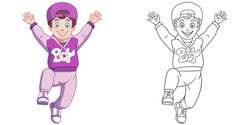 Cute happy boy jumping. Coloring page and colorful clipart character. Cartoon design for t shirt print, icon, logo, label, patch or sticker. Vector illustration.