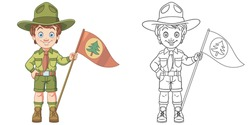 Cute happy boy scout. Coloring page and colorful clipart character. Cartoon design for t shirt print, icon, logo, label, patch or sticker. Vector illustration.