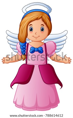 cute happy cartoon girl angel