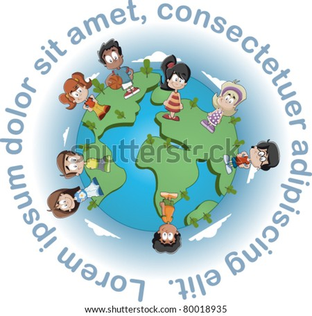 Cute happy cartoon kids over earth planet - stock vector