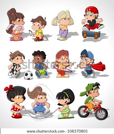 Cute happy cartoon kids playing - stock vector