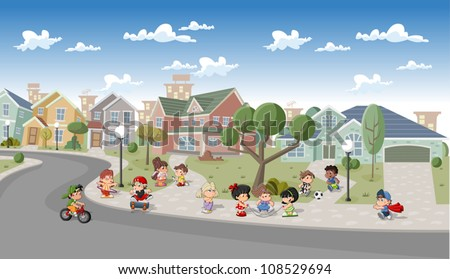 Cute happy cartoon kids playing in the street of a retro suburb neighborhood Cartoon city.