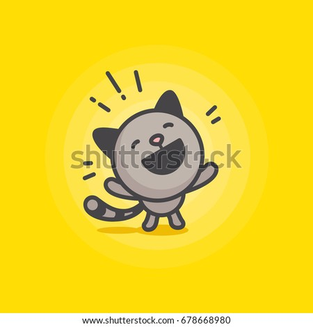 cute happy cat logo on a yellow