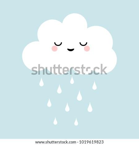 cute happy cloud with rain
