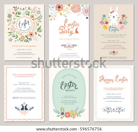 Cute Happy Easter templates with eggs, flowers, floral wreath, rabbit and typographic design. Good for spring and Easter greeting cards and invitations. Vector illustration.