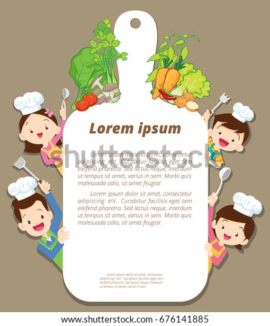 Cute happy family cooking meal kitchen menu ,poster,banner template. dad ,mom ,daughter, son enjoys with vegetables background.parents and children chef.