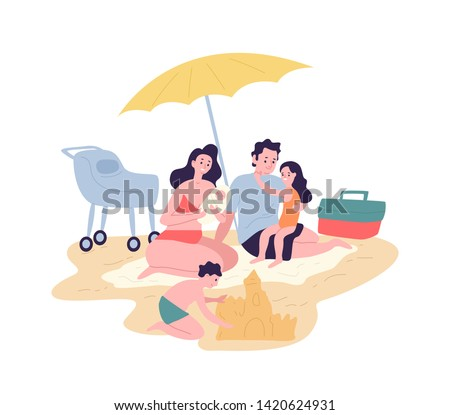 cute happy family spending