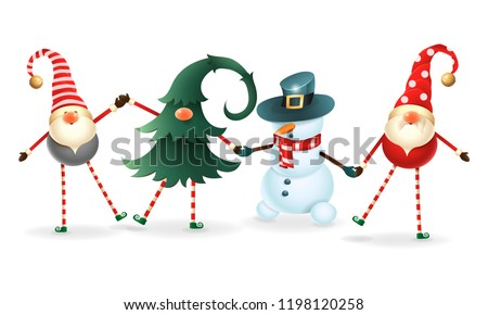 Cute happy friends celebrate Christmas - Scandinavian gnomes, one hidden in christmas tree and snowman