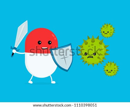 Cute happy funny strong pill guardian with sword and shield fight with bacteria microorganism virus. Vector flat cartoon character illustration icon design.  Pill, health, medical antibiotic concept