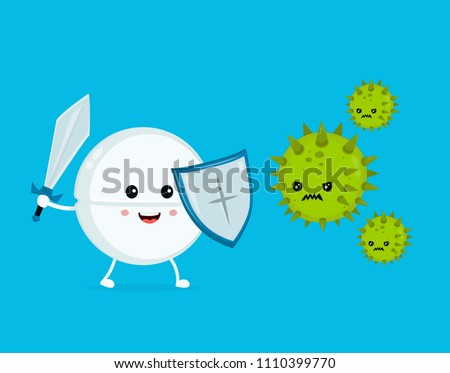 Cute happy funny strong tablet guardian with sword and shield fight with bacteria microorganism virus.Vector flat cartoon character illustration icon design. Tablet, health, medical antibiotic concept
