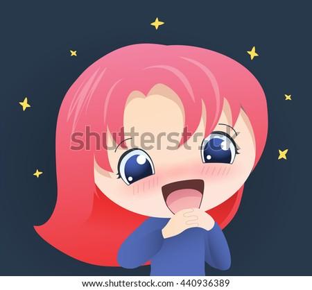 cute happy girl anime vector