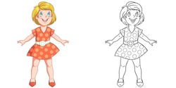 Cute happy girl in dress. Coloring page and colorful clipart character. Cartoon design for t shirt print, icon, logo, label, patch or sticker. Vector illustration.