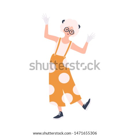 Cute happy girl in overalls entertaining public. Female mime, entertainer or animator isolated on white background. Performance artist, comedian or performer. Flat cartoon vector illustration.