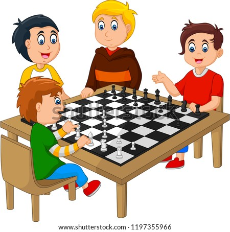 cute happy kids playing chess