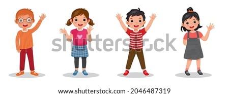 cute happy kids raising and