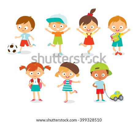 cute happy kids with toys jumping