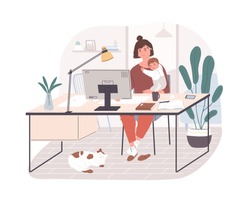 Cute happy mother holding her infant baby, sitting at desk and working on computer at home. Female freelance worker with child at workplace. Maternity and career. Flat cartoon vector illustration.