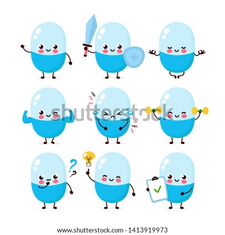 cute happy pill character set