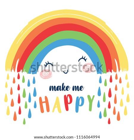 Cute happy rainbow illustration.