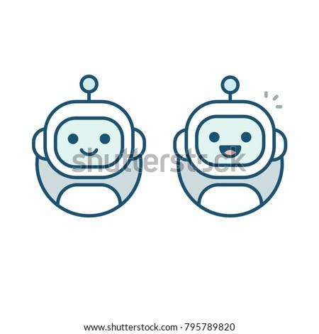 cute happy robot face avatar